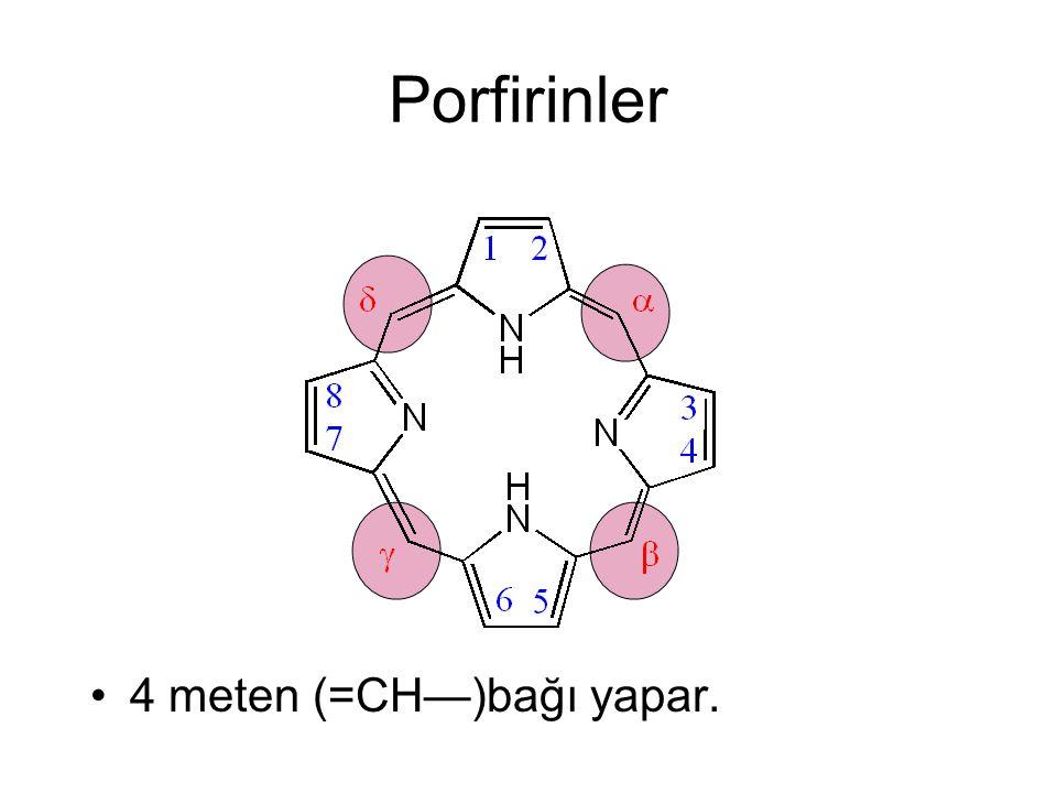Porfirinler 4 meten (=CH—)bağı yapar.