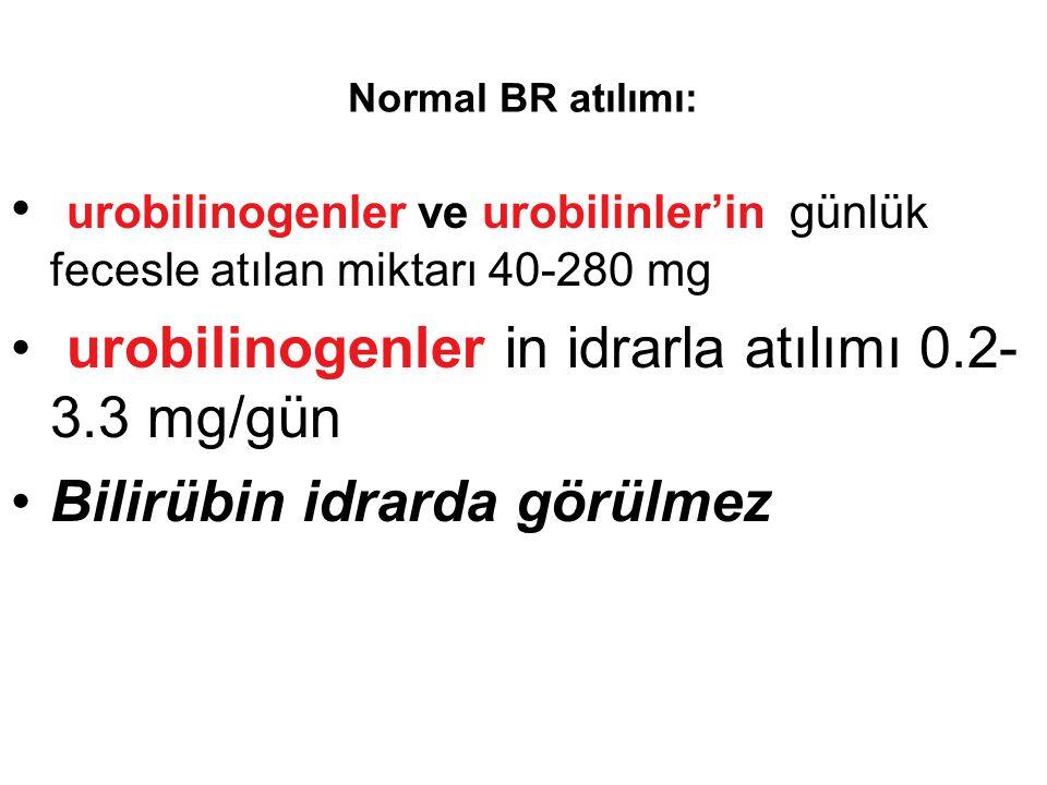 urobilinogenler in idrarla atılımı 0.2-3.3 mg/gün