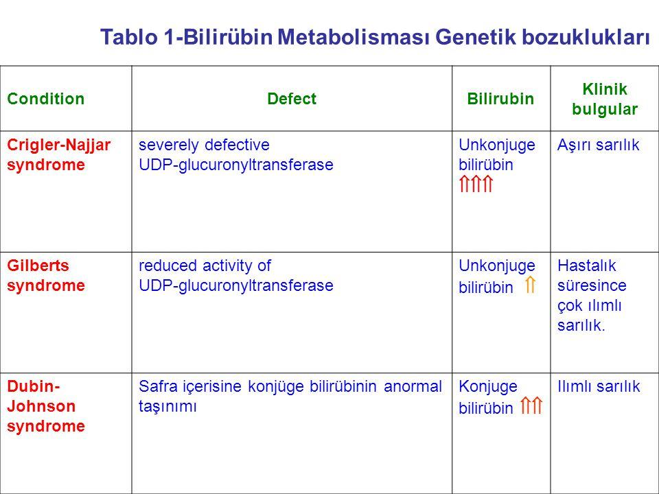 Tablo 1-Bilirübin Metabolisması Genetik bozuklukları