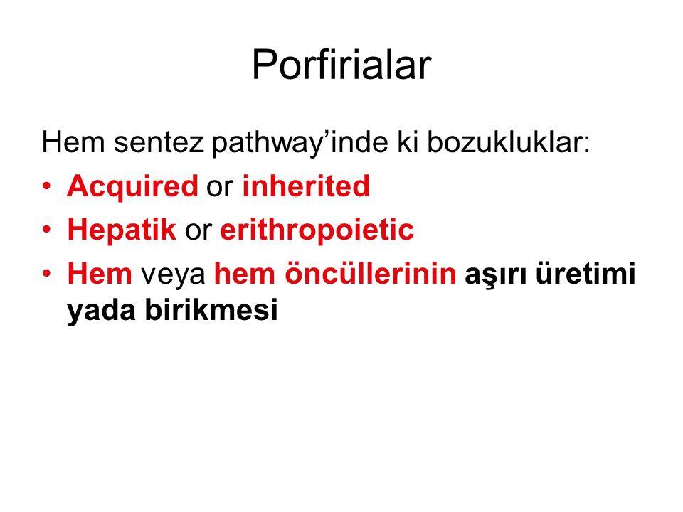 Porfirialar Hem sentez pathway'inde ki bozukluklar: