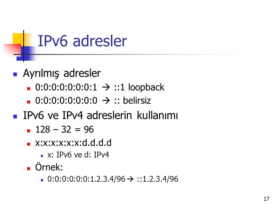 IPv6 adresler Ayrılmış adresler IPv6 ve IPv4 adreslerin kullanımı