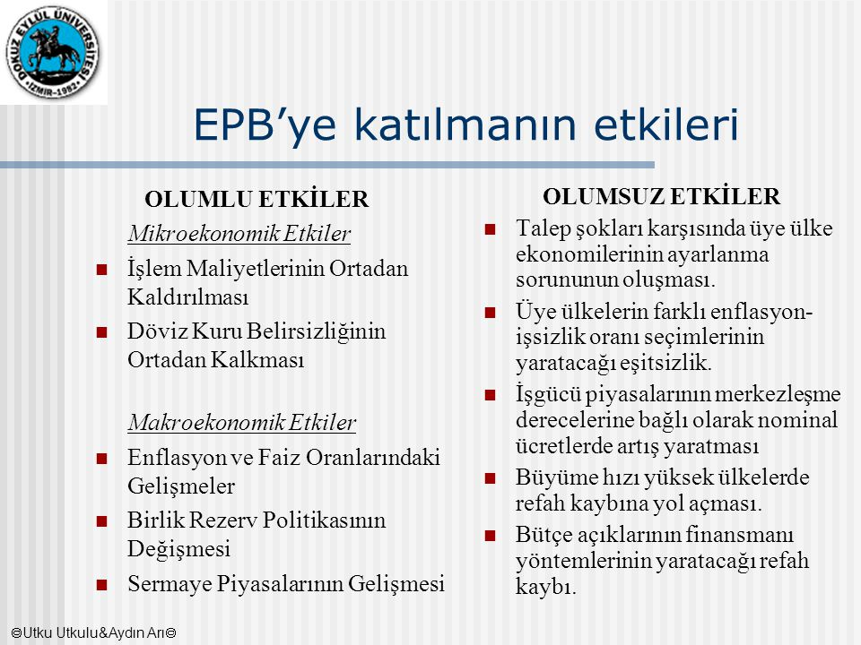 EPB'ye katılmanın etkileri