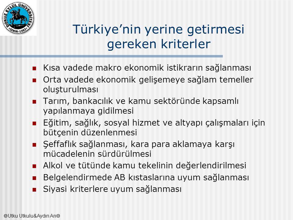 Türkiye'nin yerine getirmesi gereken kriterler