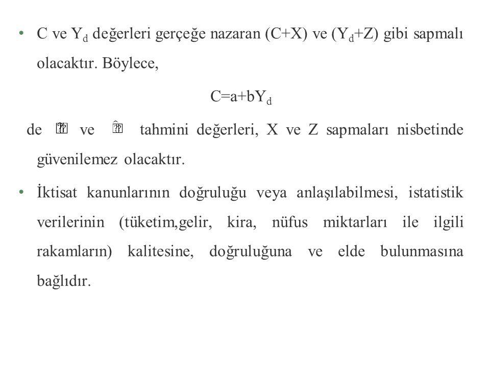 C ve Yd değerleri gerçeğe nazaran (C+X) ve (Yd+Z) gibi sapmalı olacaktır. Böylece,