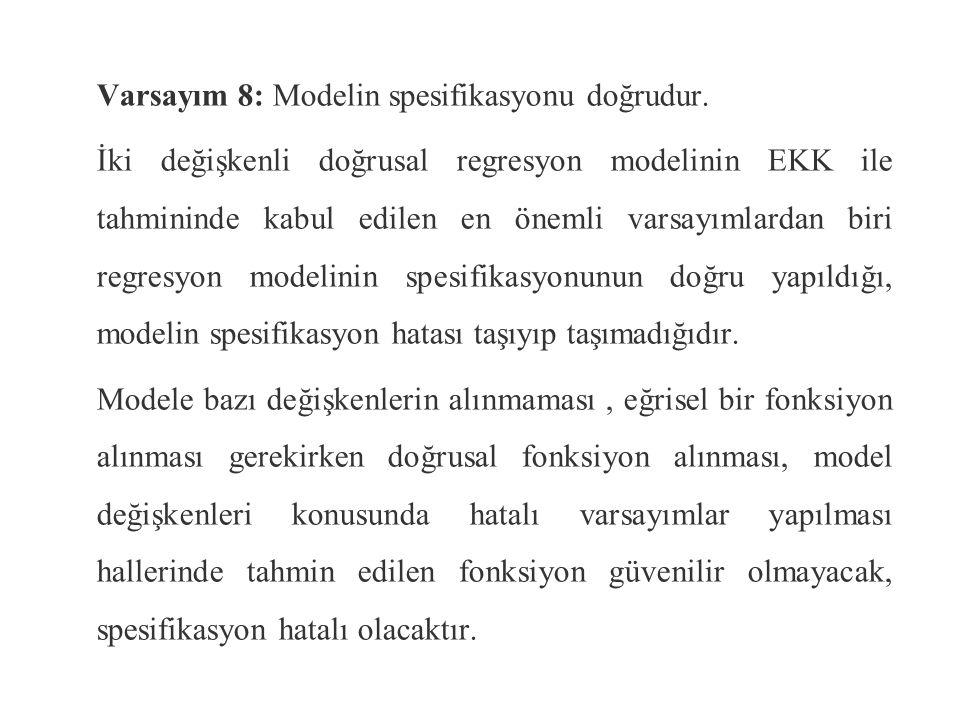 Varsayım 8: Modelin spesifikasyonu doğrudur