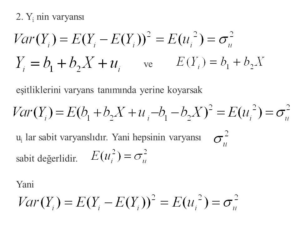 2. Yi nin varyansı ve. eşitliklerini varyans tanımında yerine koyarsak. ui lar sabit varyanslıdır. Yani hepsinin varyansı.