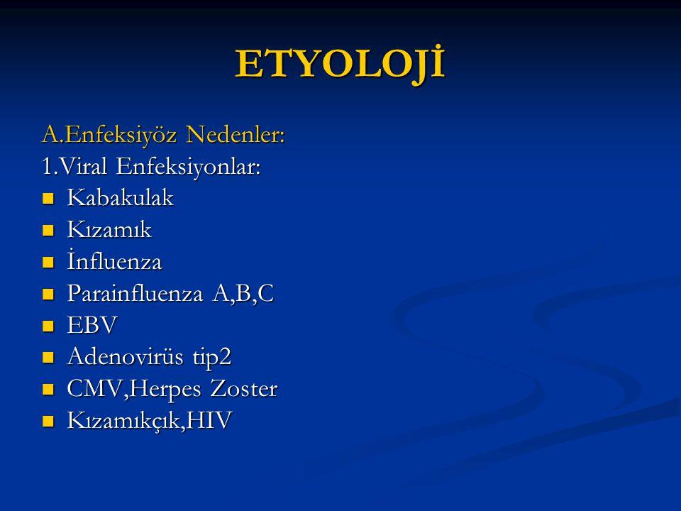 ETYOLOJİ A.Enfeksiyöz Nedenler: 1.Viral Enfeksiyonlar: Kabakulak