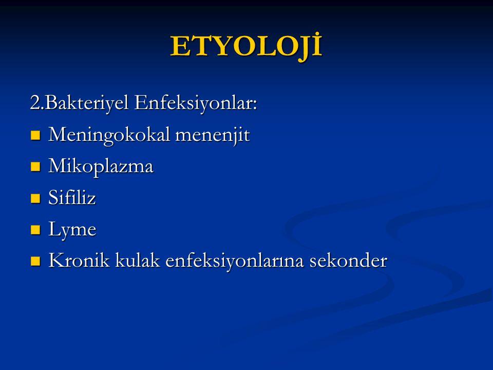 ETYOLOJİ 2.Bakteriyel Enfeksiyonlar: Meningokokal menenjit Mikoplazma