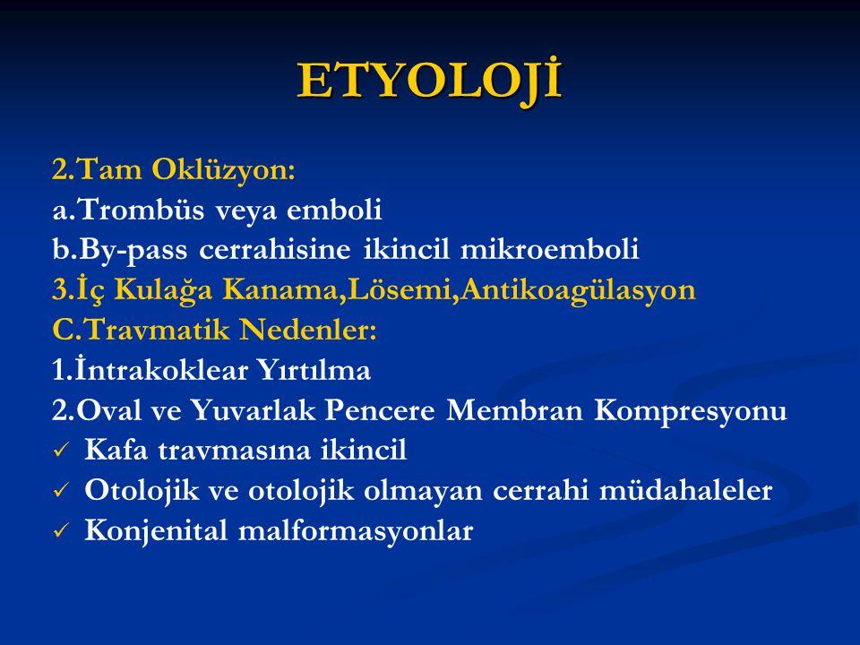 ETYOLOJİ 2.Tam Oklüzyon: a.Trombüs veya emboli