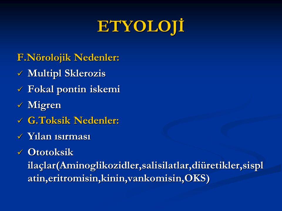 ETYOLOJİ F.Nörolojik Nedenler: Multipl Sklerozis Fokal pontin iskemi