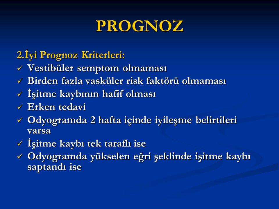 PROGNOZ 2.İyi Prognoz Kriterleri: Vestibüler semptom olmaması