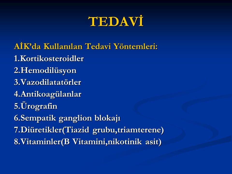 TEDAVİ AİK'da Kullanılan Tedavi Yöntemleri: 1.Kortikosteroidler