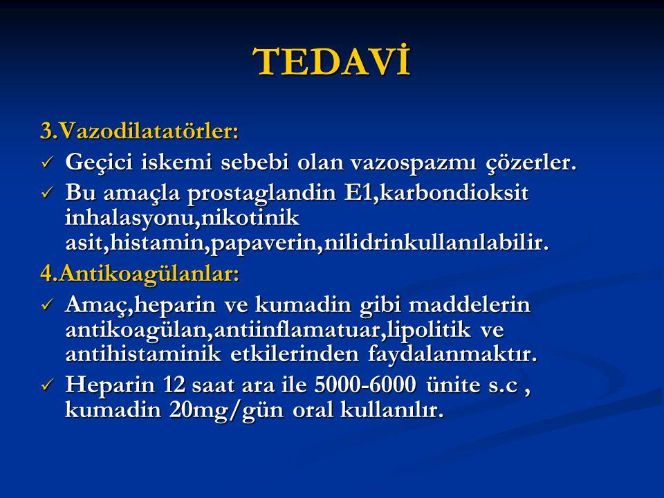 TEDAVİ 3.Vazodilatatörler: