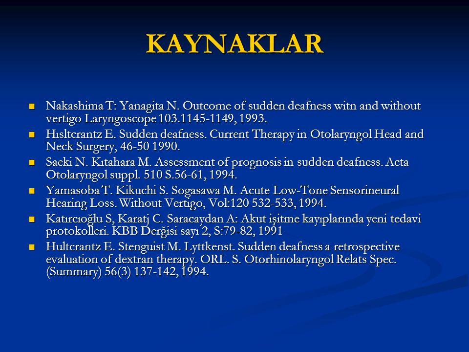 KAYNAKLAR Nakashima T: Yanagita N. Outcome of sudden deafness witn and without vertigo Laryngoscope 103.1145-1149, 1993.