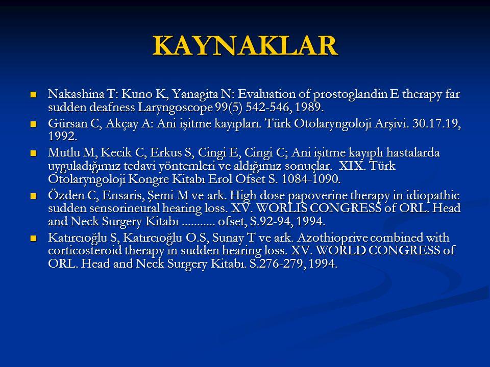 KAYNAKLAR Nakashina T: Kuno K, Yanagita N: Evaluation of prostoglandin E therapy far sudden deafness Laryngoscope 99(5) 542-546, 1989.