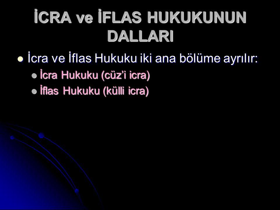 İCRA ve İFLAS HUKUKUNUN DALLARI