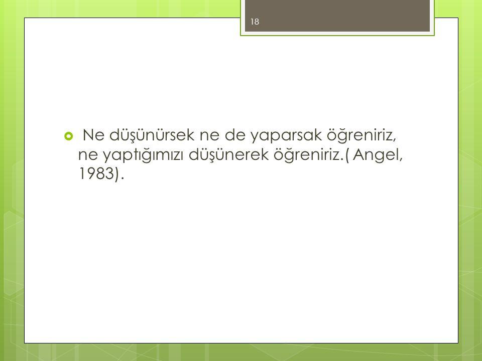 Ne düşünürsek ne de yaparsak öğreniriz, ne yaptığımızı düşünerek öğreniriz.( Angel, 1983).