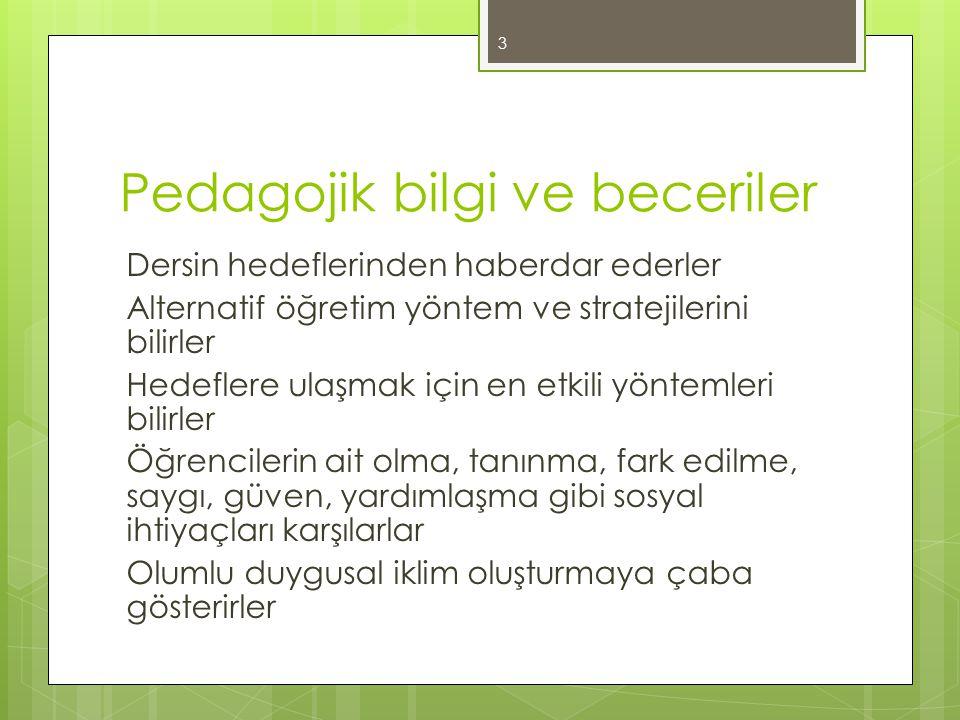 Pedagojik bilgi ve beceriler