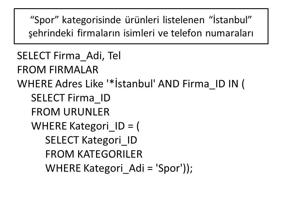 Spor kategorisinde ürünleri listelenen İstanbul şehrindeki firmaların isimleri ve telefon numaraları