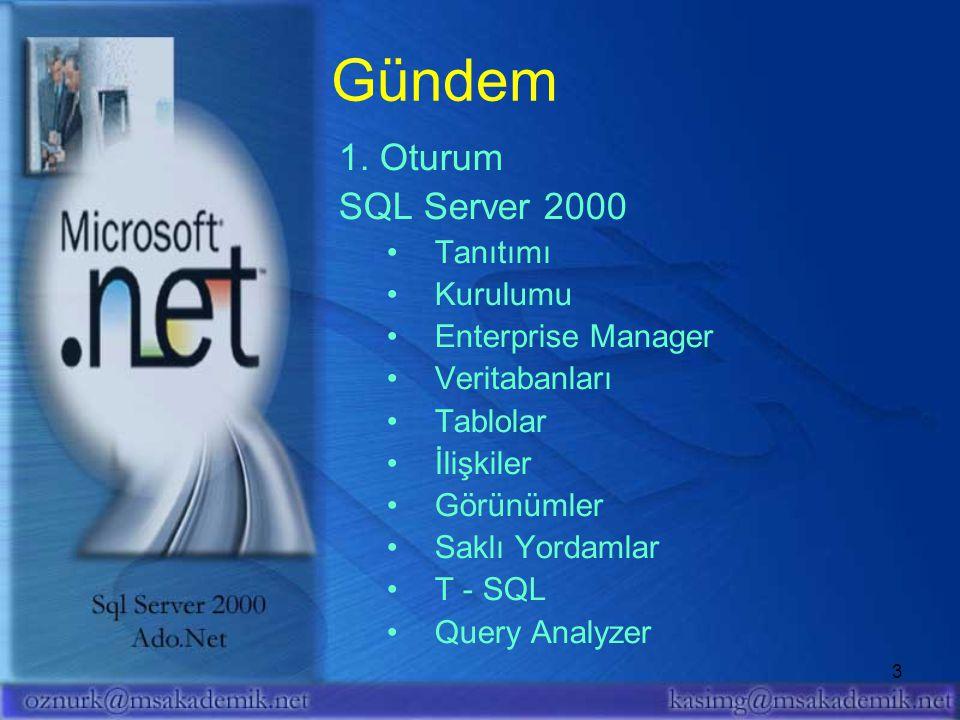 Gündem 1. Oturum SQL Server 2000 Tanıtımı Kurulumu Enterprise Manager