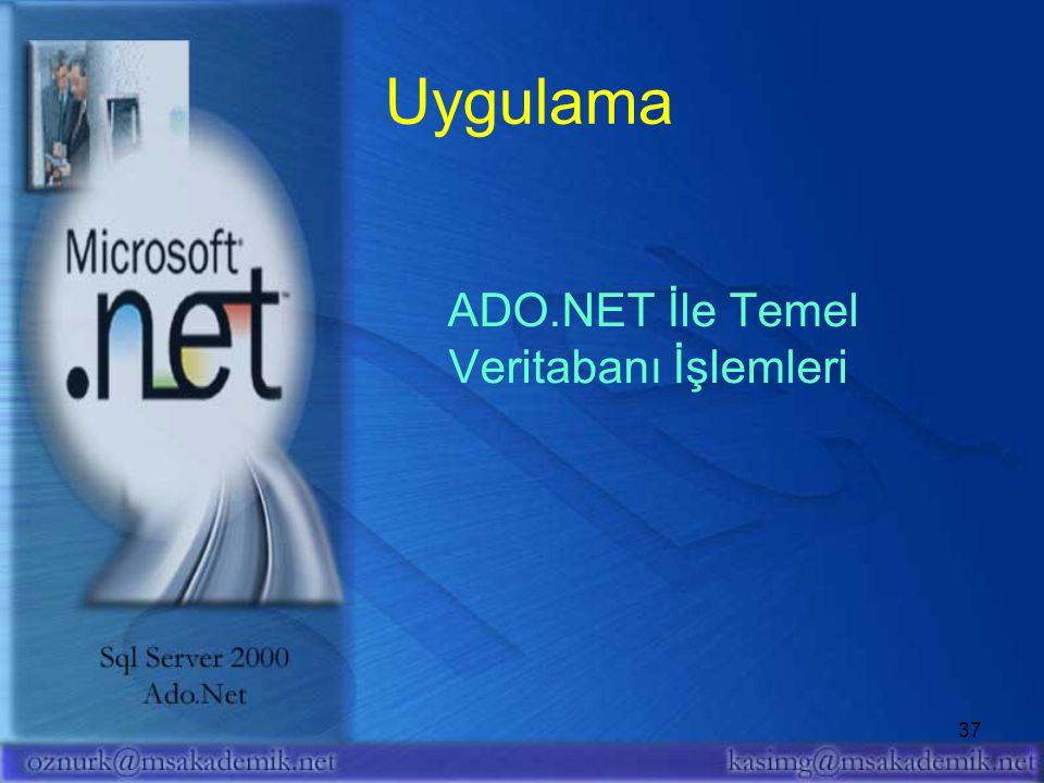 Uygulama ADO.NET İle Temel Veritabanı İşlemleri
