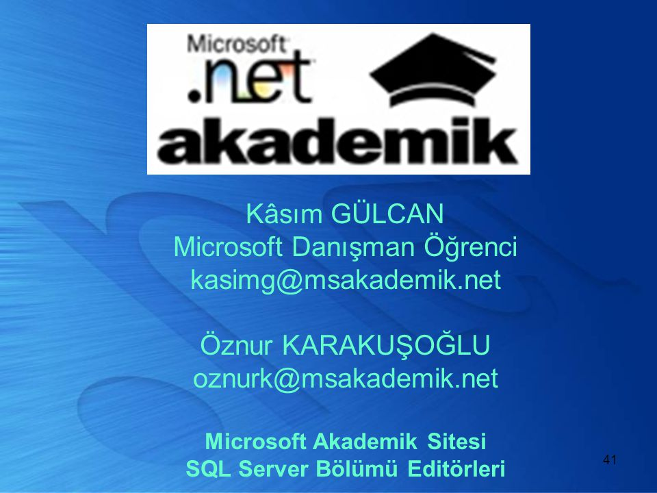 Microsoft Akademik Sitesi SQL Server Bölümü Editörleri