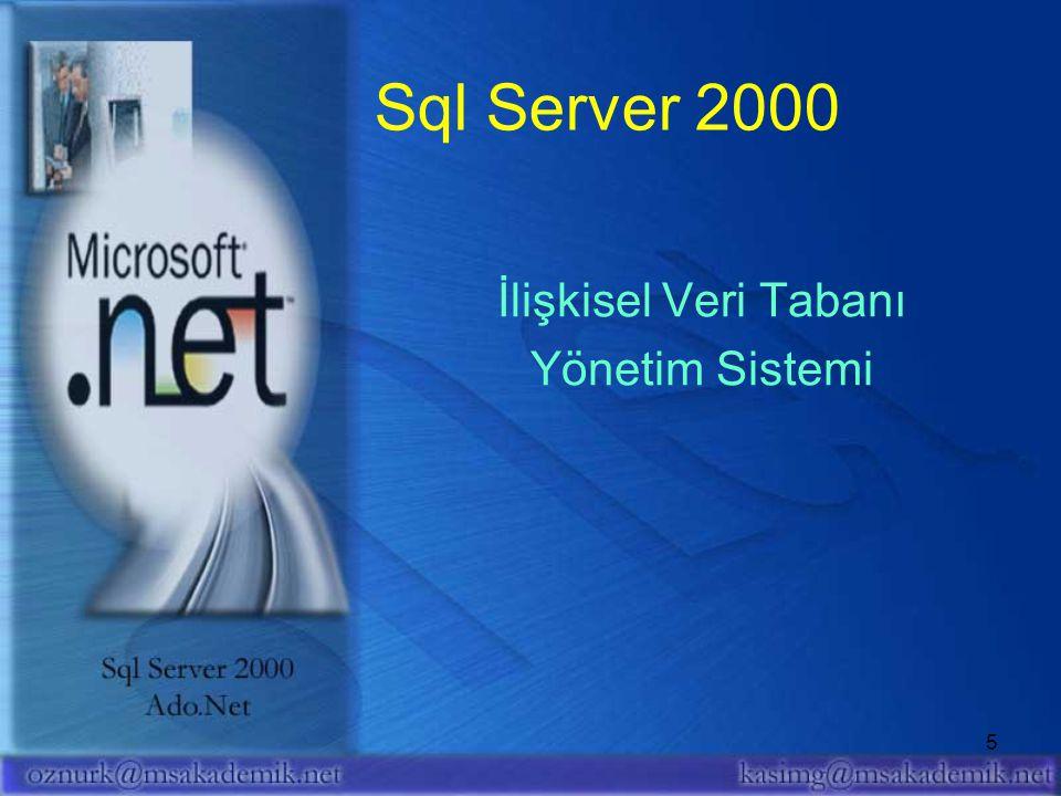 Sql Server 2000 İlişkisel Veri Tabanı Yönetim Sistemi