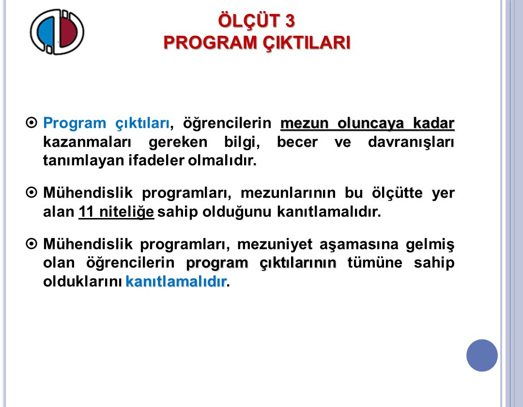 ÖLÇÜT 3 PROGRAM ÇIKTILARI