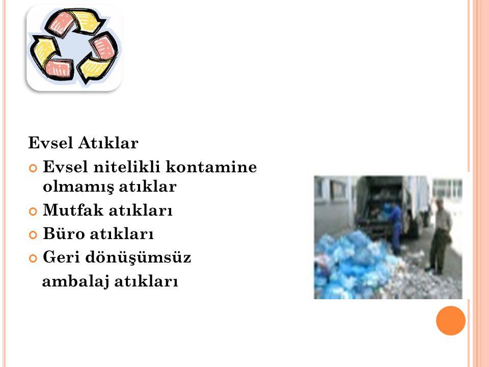 Evsel Atıklar Evsel nitelikli kontamine olmamış atıklar. Mutfak atıkları. Büro atıkları. Geri dönüşümsüz.