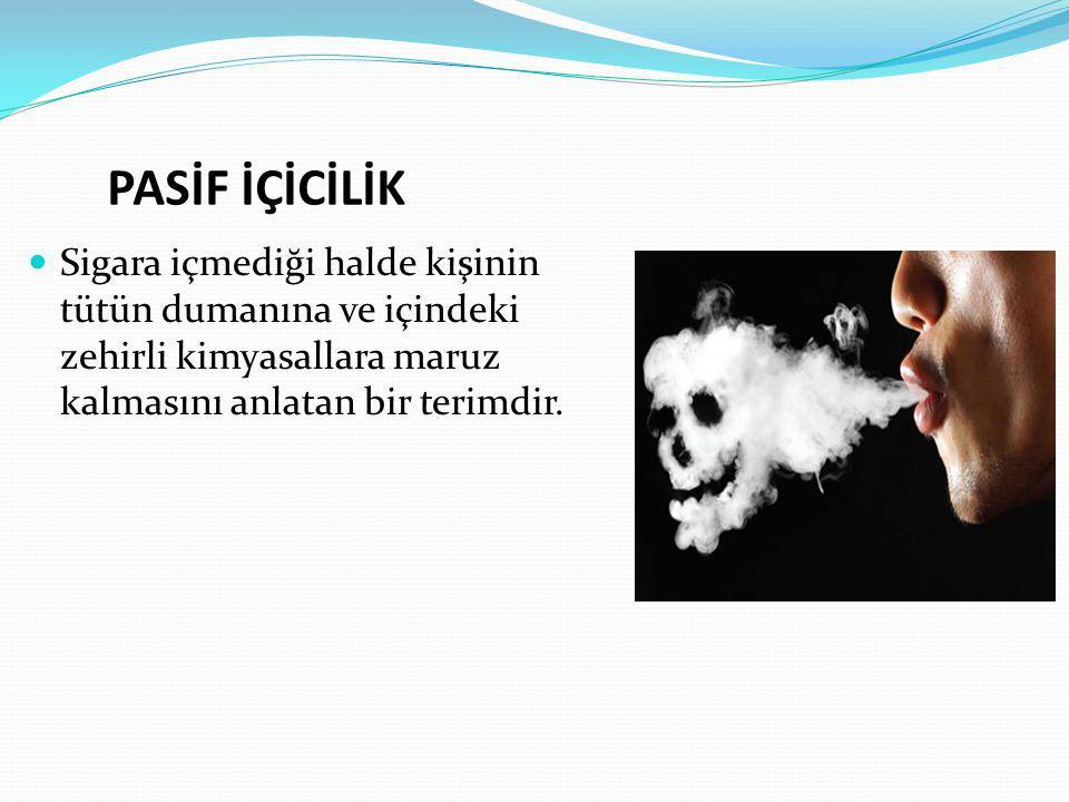 PASİF İÇİCİLİK Sigara içmediği halde kişinin tütün dumanına ve içindeki zehirli kimyasallara maruz kalmasını anlatan bir terimdir.