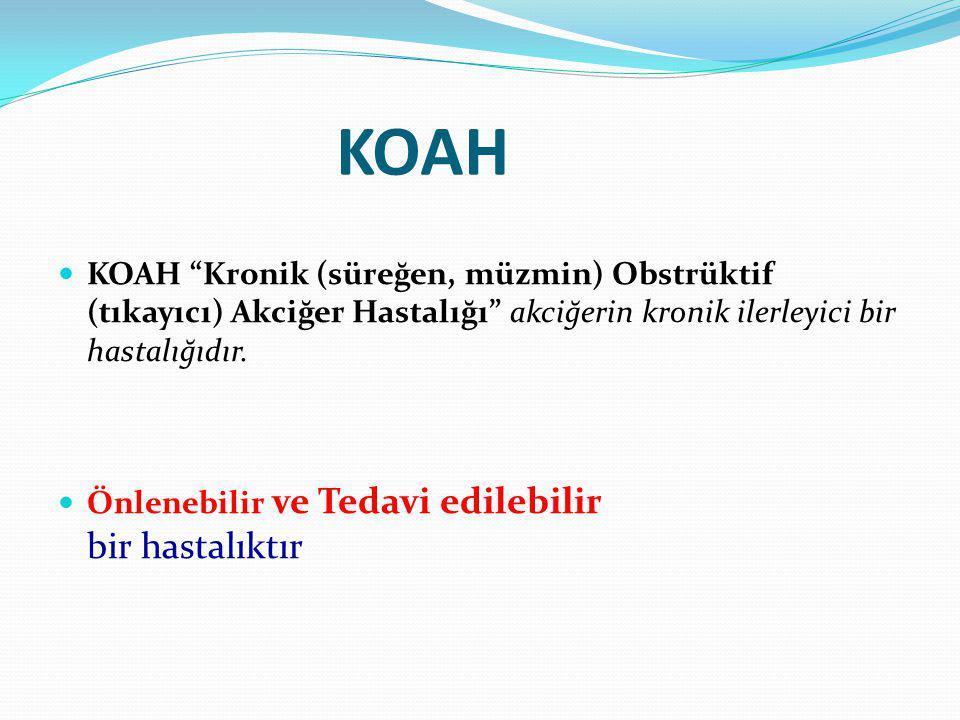 KOAH KOAH Kronik (süreğen, müzmin) Obstrüktif (tıkayıcı) Akciğer Hastalığı akciğerin kronik ilerleyici bir hastalığıdır.