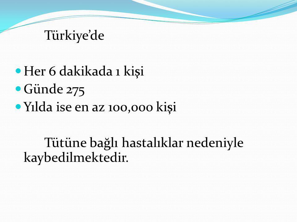 Türkiye'de Her 6 dakikada 1 kişi. Günde 275. Yılda ise en az 100,000 kişi.