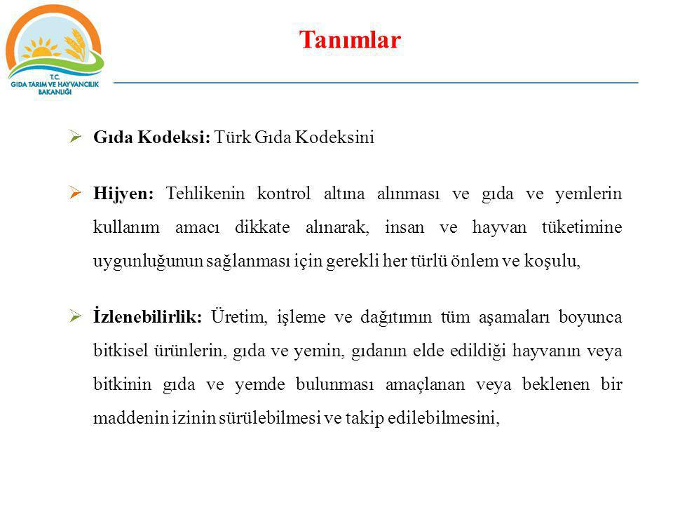 Tanımlar Gıda Kodeksi: Türk Gıda Kodeksini