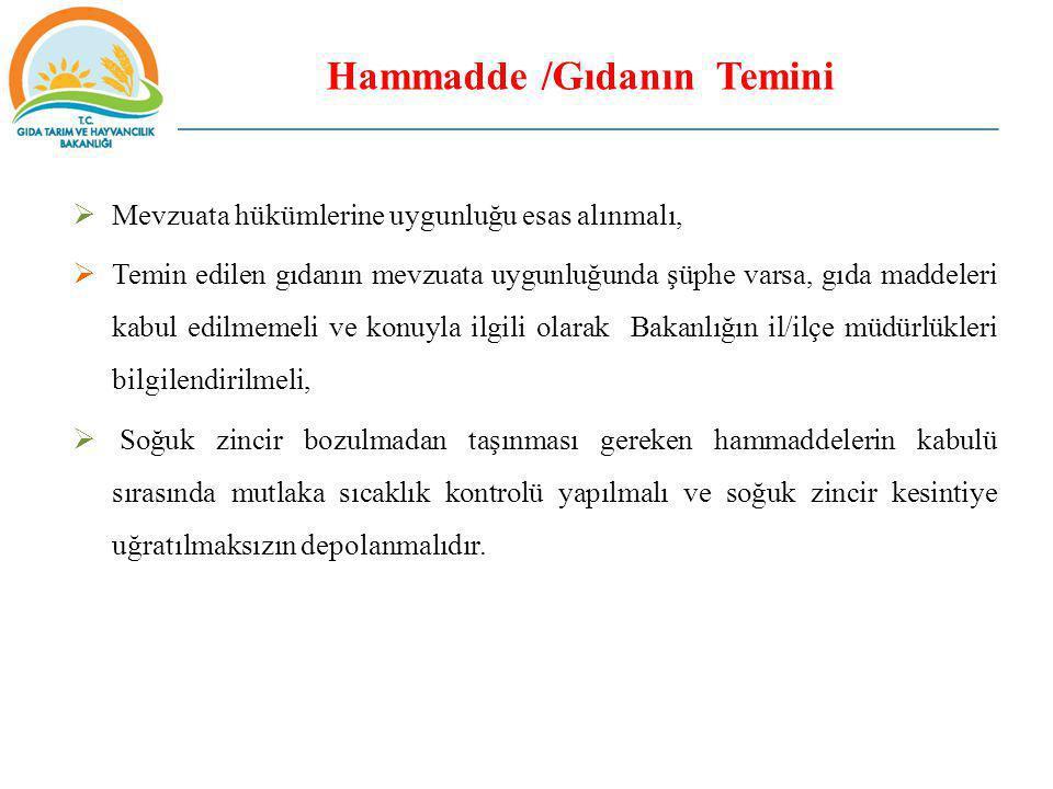 Hammadde /Gıdanın Temini