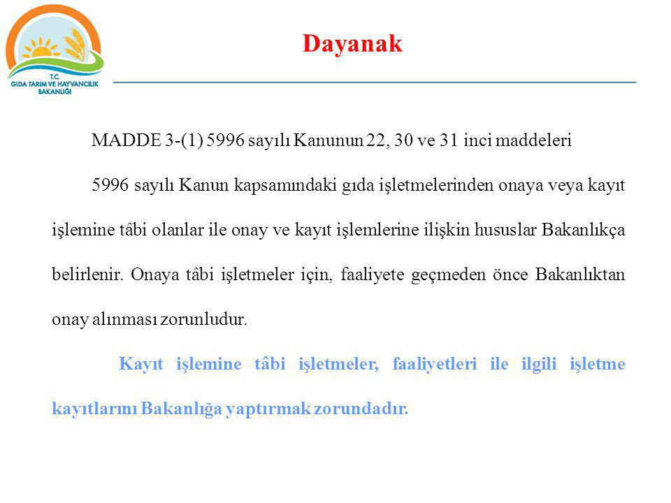 Dayanak MADDE 3-(1) 5996 sayılı Kanunun 22, 30 ve 31 inci maddeleri