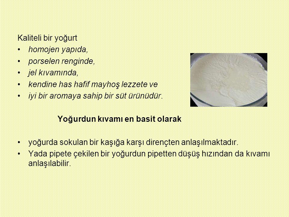 Kaliteli bir yoğurt homojen yapıda, porselen renginde, jel kıvamında, kendine has hafif mayhoş lezzete ve.