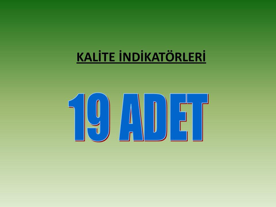 KALİTE İNDİKATÖRLERİ 19 ADET