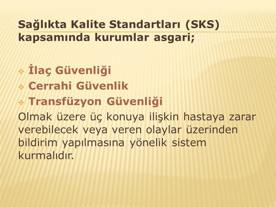 Sağlıkta Kalite Standartları (SKS) kapsamında kurumlar asgari;