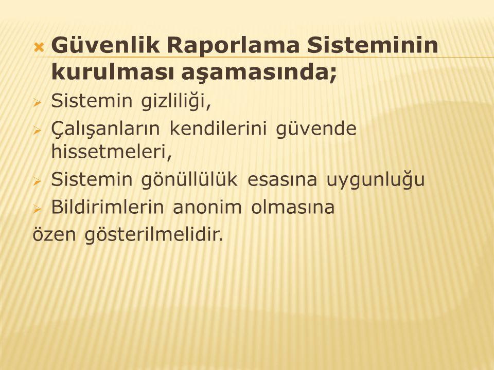 Güvenlik Raporlama Sisteminin kurulması aşamasında;
