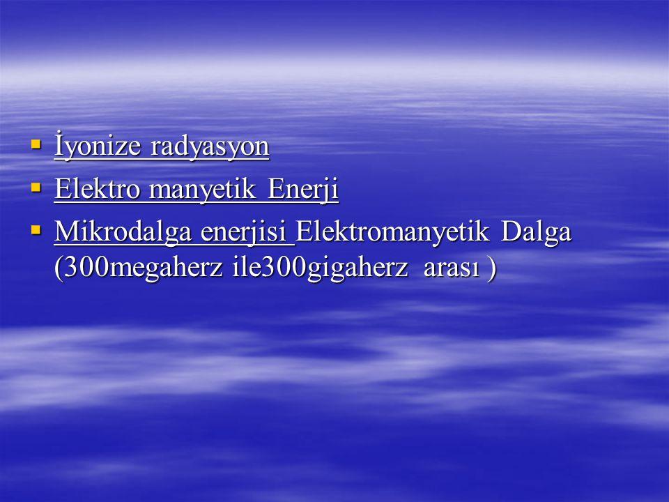 İyonize radyasyon Elektro manyetik Enerji.