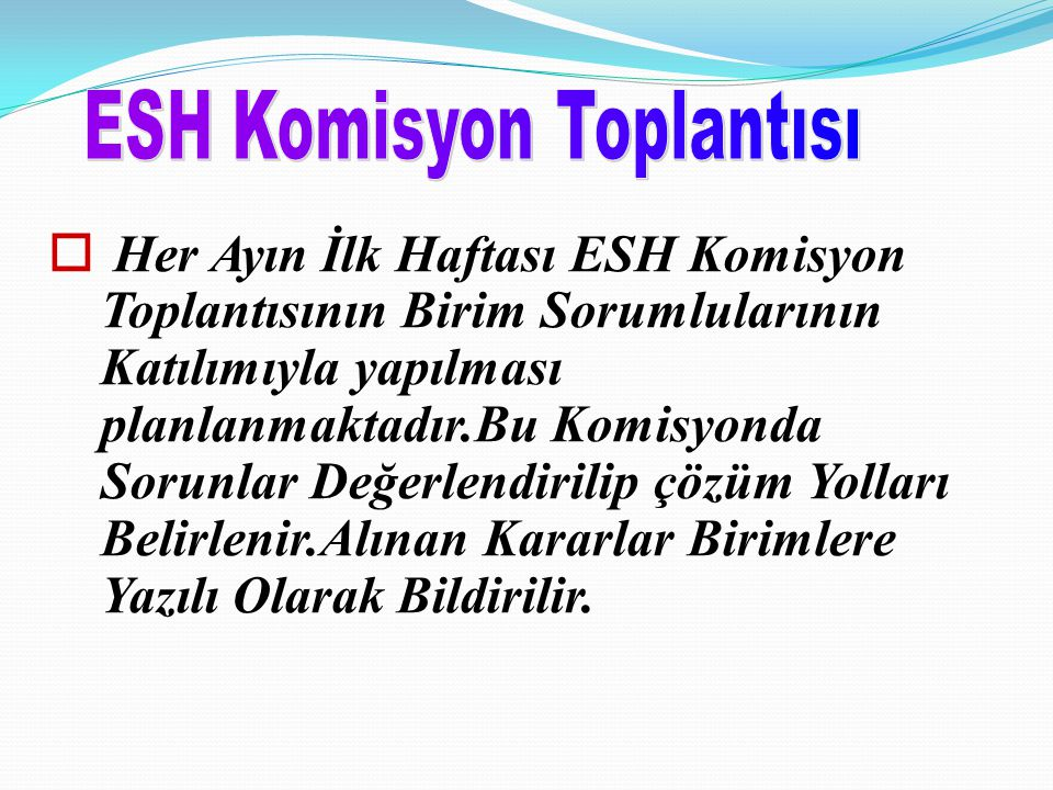 ESH Komisyon Toplantısı