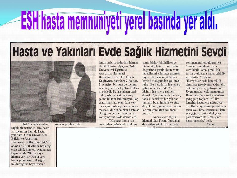 ESH hasta memnuniyeti yerel basında yer aldı.
