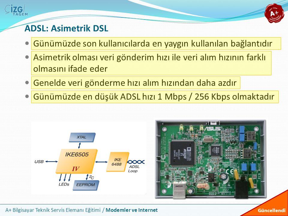 ADSL: Asimetrik DSL Günümüzde son kullanıcılarda en yaygın kullanılan bağlantıdır.