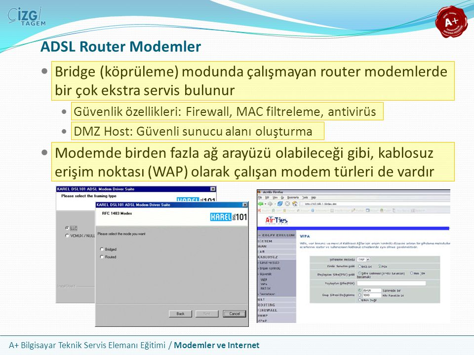 ADSL Router Modemler Bridge (köprüleme) modunda çalışmayan router modemlerde bir çok ekstra servis bulunur.