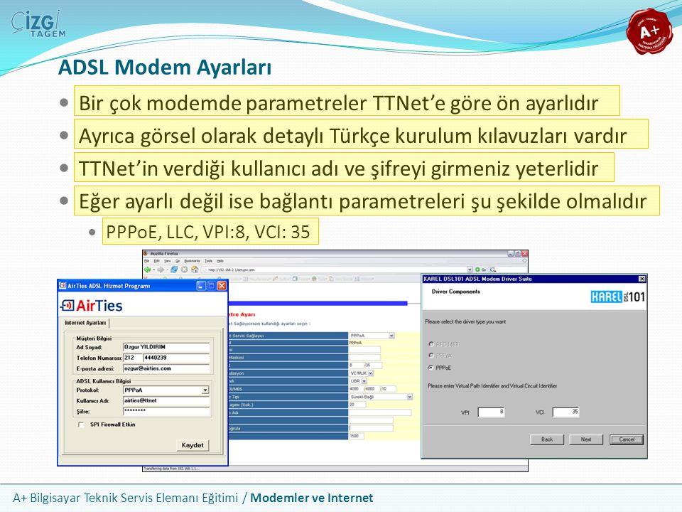 ADSL Modem Ayarları Bir çok modemde parametreler TTNet'e göre ön ayarlıdır. Ayrıca görsel olarak detaylı Türkçe kurulum kılavuzları vardır.