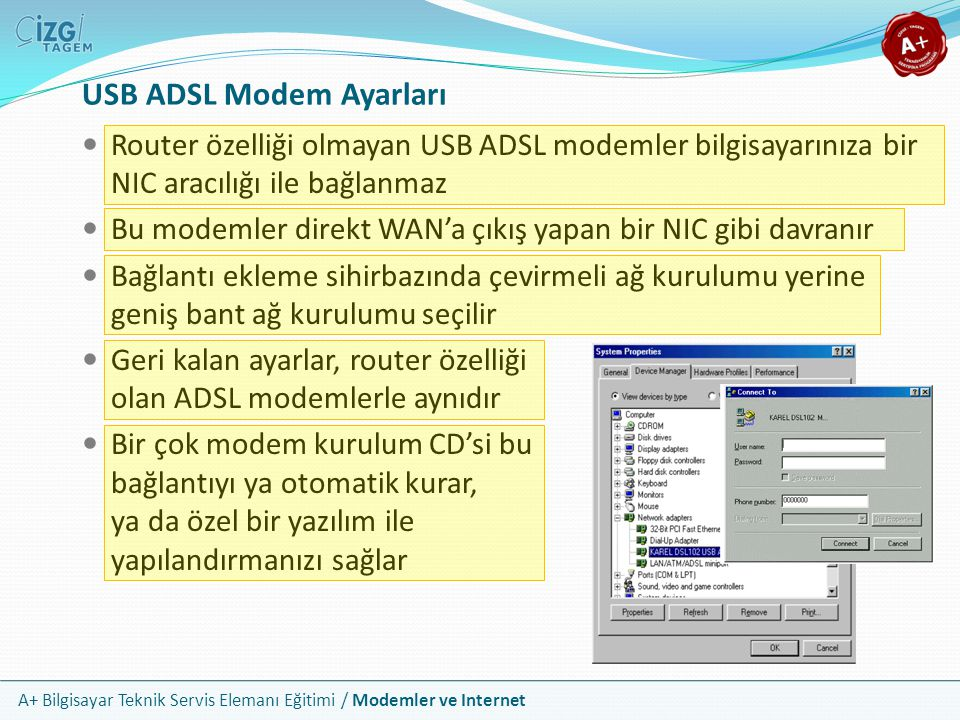 USB ADSL Modem Ayarları