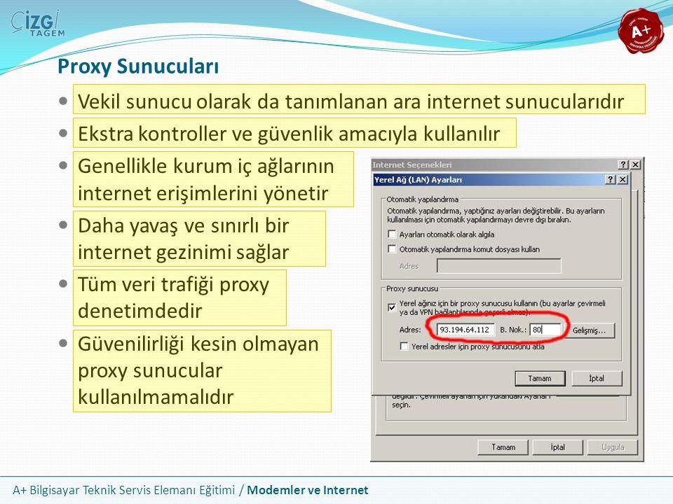Proxy Sunucuları Vekil sunucu olarak da tanımlanan ara internet sunucularıdır. Ekstra kontroller ve güvenlik amacıyla kullanılır.