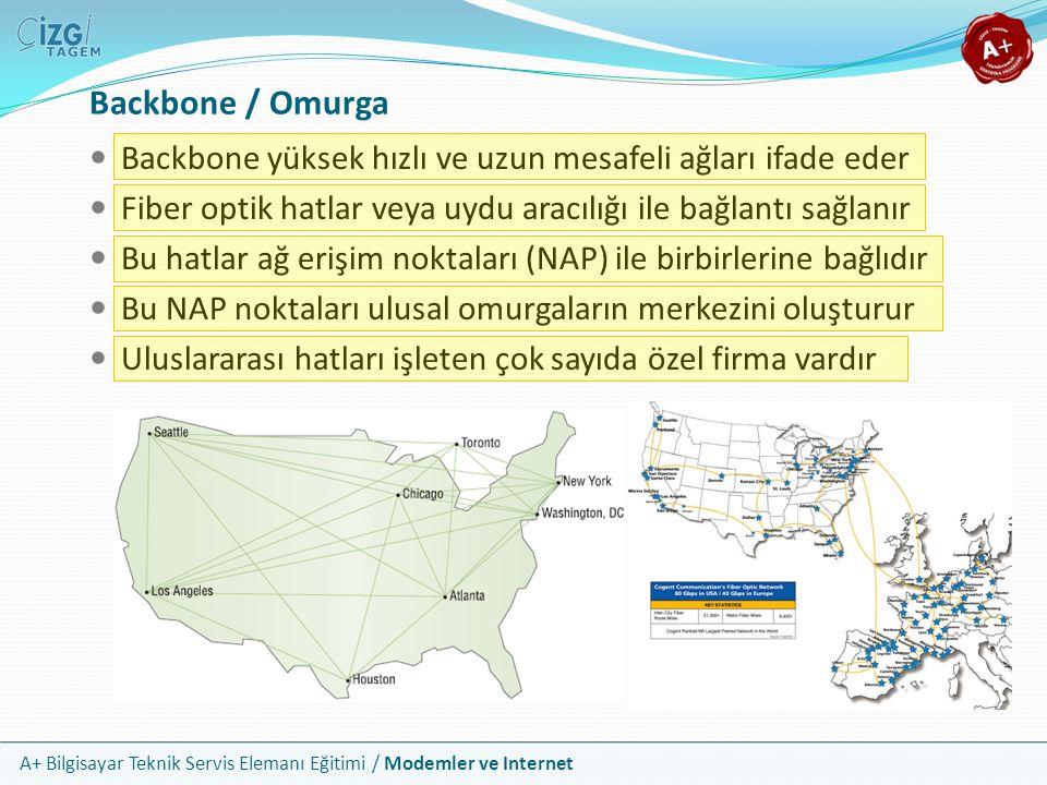 Backbone / Omurga Backbone yüksek hızlı ve uzun mesafeli ağları ifade eder. Fiber optik hatlar veya uydu aracılığı ile bağlantı sağlanır.
