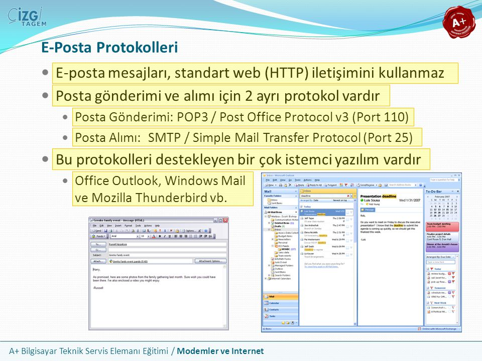 E-Posta Protokolleri E-posta mesajları, standart web (HTTP) iletişimini kullanmaz. Posta gönderimi ve alımı için 2 ayrı protokol vardır.