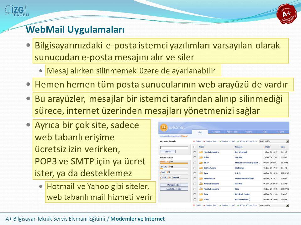 WebMail Uygulamaları Bilgisayarınızdaki e-posta istemci yazılımları varsayılan olarak sunucudan e-posta mesajını alır ve siler.